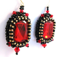 Bead Embroidered Earrings Crystal  Red Black by colorsoulartistry