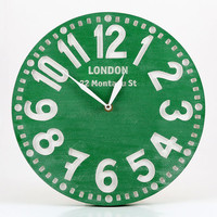 Vintage clock -Paris emerald green Light- pseudo vintage birch clock hand painted