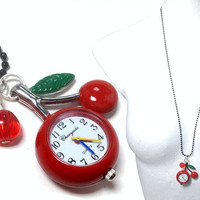Cherry Pocket Watch Necklace with black chain and by Friesenliese
