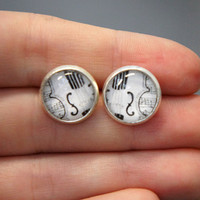 Violin Song 12 mm round glass domed silver post earrings by sacari
