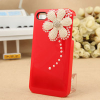 Iphone 4 Case - Bling Rhinestone Crystal Case - Handmade Lovely Ice Cream 3D Pearl Flower Sweet Crystal Red Case Cover For iphone 4 4G 4S