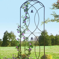 Metal Garden Trellis With Two Bells - Plow & Hearth