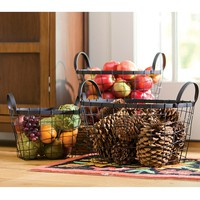 Set of 3 Wire Metal Baskets - Plow & Hearth