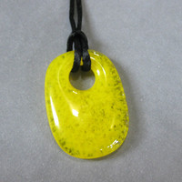 Fused Glass Necklace, Do Nut Jewelry, - Sunshine in MY Heart - 1792 - Handmade Crafts by MySassyGlass