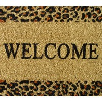 Welcome Cheetah - Printed Coco Doormat - Heavy Duty Outdoor Premium Coir Mat 18x30 by Iron Gate - E