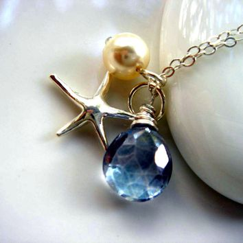 Blue Quartz Swarovski Pearl Sterling Silver Starfish Necklace  - Handmade Crafts by Enchanting Jewel