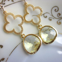 Citrine Earrings Gold Clover Quatrefoil Yellow Earrings - Bridesmaid Earrings - Wedding Earrings - Christmas Gift