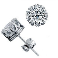 Super Shinning 925 Silver Diamond Unique Crown Design Stud Earrings