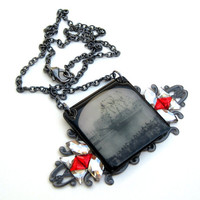 Gasparilla Pirate Ship in 1947 vintage look necklace with Swarovski crystals