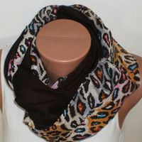 BROWN and LEOPAR Scarf. Infinity Loop Scarf. Coute scarf. Autumn scarf. New season....