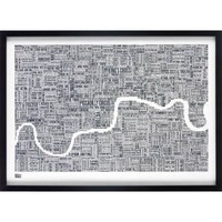 London Type Map Print - Slate - Gifts For Him from the gifted penguin UK