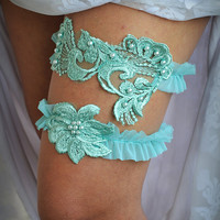 Mint Lace Wedding Garter Appliqued Bridal Garter With Pearls- Handmade
