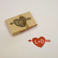 Personalized Heart & Arrow Hand Carved Stamp by doodlebugdesign