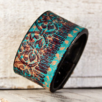 Turquoise Gypsy Boho Chic Leather Cuff by rainwheel on Etsy