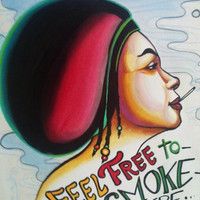 smoking woman original watercolor painting rasta lady