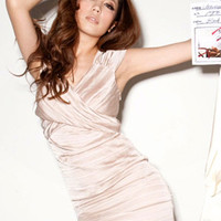 Magizine Fashion Pink Pleated Satin Dresses : Wholesaleclothing4u.com