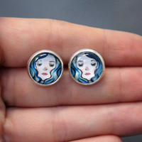 Quirky Bluehaired girls 12 mm round glass domed silver by sacari