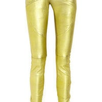 Balmain | Metallic leather skinny pants | NET-A-PORTER.COM
