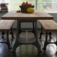 Reclaimed wood Teak and Metal 3-piece Dining Set