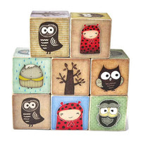 Owl and Woodland Creatures Wooden Blocks by Stackblocks on Etsy