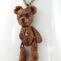 Beloved Teddy Bear Necklace, Jewelry, Handmade