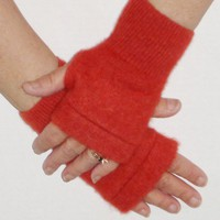 Upcycled Cashmere Fingerless Texting Gloves in Burnt Orange