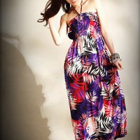 Boho Style Purple Ladies Halter Dresses Wholesale : Wholesaleclothing4u.com