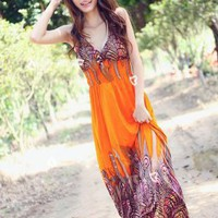 Deep V Neck Prints Ladies Beach Dresses Orange : Wholesaleclothing4u.com