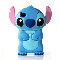 Disney Lilo Stitch Die Cut 3D Case Cover Skin House For iPhone 4 4G 4S Blue
