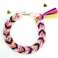 Sugar Plum Sparkler - Peachy Keen, Magenta, Gold Glitter & Plum - Chevron Braided Modern Friendship Bracelet - Silver Chain