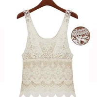 New High Quality Girl Women's Ivory Lace Embroidery Sexy V Neck Tank Top
