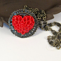 Antique bronze red heart necklace Valentines Day, by romanticcrafts