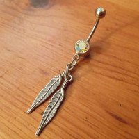 Belly Button Ring - 2 Feather Belly Button Ring
