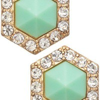 Hexagon Earrings- Mint