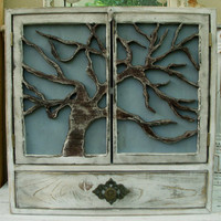 Oak Tree Cabinet Shelf Handmade shabby chic by honeystreasures