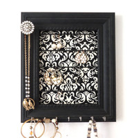 Black Jewelry Holder Organizer Frame- Damask-Vintage knob- Bedroom Decor-Black and White- Ready To Ship