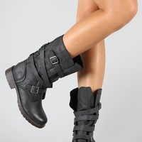 Breckelle Reno-81 Strappy Leatherette Military Mid Calf Boot