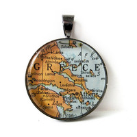 Vintage Map Pendant of Greece in Glass Tile by CarpeDiemHandmade