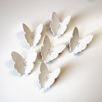 White porcelain wall art sculpture Flutter Set by PrinceDesignUK