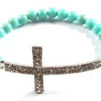 Turquoise Iced Out Cross Beaded Bracelet Shamballah: Jewelry: Amazon.com