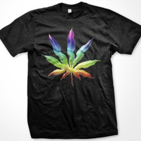 Psychedelic Rainbow Pot Leaf Mens T-shirt, Funny Trendy Hot Weed Smoking Mens Shirt