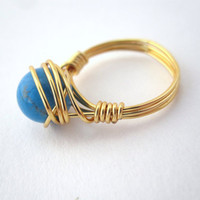 Gold wire wrapped turquoise ring SIZE 5 by LazyOwlBoutique on Etsy