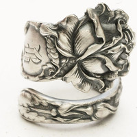 Spoon Ring Bridal Rose Sterling Silver by Alvin Co, Handcrafted in Your Size (3598)