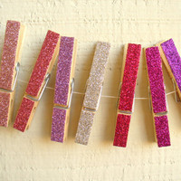 Glittered Clothespin Magnets  The Pinks by PeaceLoveAndRoses