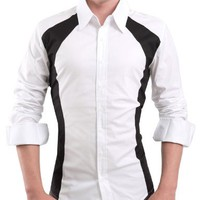 Doublju Mens Casual 2 Tone Dress Shirts