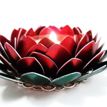 Chainmail Candle Holder Posable Poinsettia by SerenityInChains