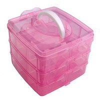 pink nail art makeup cosmetic container box case