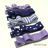Starter Set - Baby Hair Clips - Baby Purple Set - Tuxedo Bow Alligator Hair Clip Set of 5- Baby, Girl, Toddler, Children