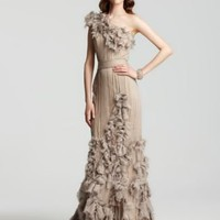 Tadashi Shoji One-Shoulder Cascading Rosette Gown - Dresses - Apparel - Women&#x27;s - Bloomingdale&#x27;s