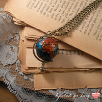 World Globe Really SPINS Pendant Charm Necklace Nautical Antique Bronze CHAIN INCLUDED by ingredientsforlovely